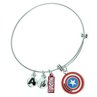 Captain America Women's Stainless Steel Enamel Filled Logo Charm Bracelet