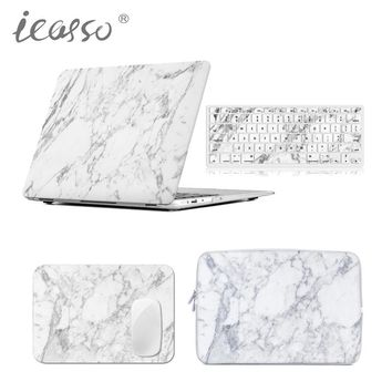 icasso Marble Case cover shell for Macbook Air Pro Retina 13 15 inch macbook case+Laptop sleeve Bag+Mouse Pad+keyboard cover