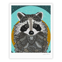 "Art Love Passion ""Racoon in Grass"" Gray Teal Fine Art Gallery Print"