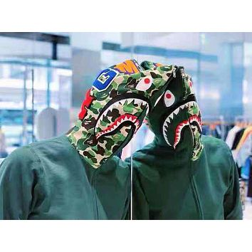 BAPE selling a new line of embroidered shark camouflage cap zip-up jackets Dark Green