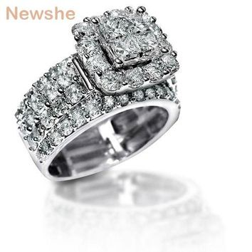 2.2 Carats Cross Cut Zirconia Solid 925 Sterling Silver Halo Wedding Ring Set