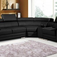 2 pc Henderson collection black bonded leather sectional sofa with adjustable headrests and chrome legs
