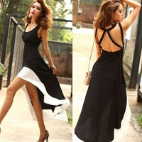 Deep U ♡ Black & White Dress