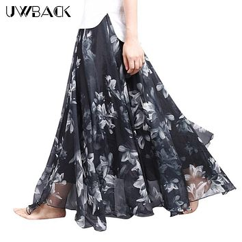 Uwback Women Chiffon Skirt Floral Floor Length Women Long Maxi Skirts Loose Boho Beach Skirt 2017 New Summer Fashion Wear, EB129