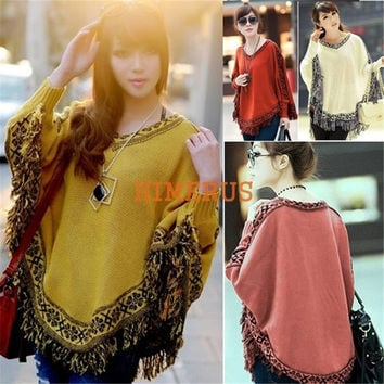 Women Batwing Sleeve Tassels Hem Style Cloak Cape Tops Knitted Poncho Sweater pullover Coat Shawl = 1946806980