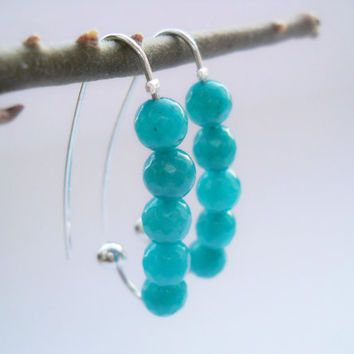 Jade earrings, turquoise jade, dangle earrings, jade jewelry, platinum plated earrings, gemstones earrings, hoop earrings, faceted jade bead