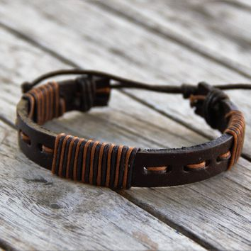 Threaded Warrior Leather Bracelet - Adjustable