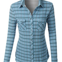 LE3NO Womens Wrinkle Resistant Long Sleeve Button Down Plaid Shirt