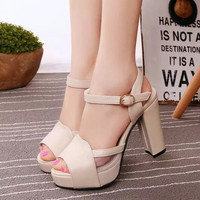 Design Stylish Summer Peep Toe Thick Crust High Heel Waterproof Lace Patchwork Korean Shoes Sandals [6366208132]