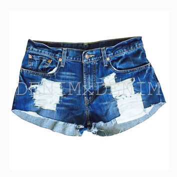 Women's Destroy Me Ripped Distressed Denim Fray Shorts High Waisted Low Rise Grunge Ripped Shredded Boho Jeans