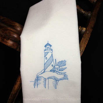 Set of 4 Lighthouse Embroidered Cloth Napkins / Seaside / Ocean Side / Cliff / Ocean house