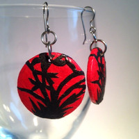 Red Round Bamboo Hanji Paper Earrings Dangle Bamboo Design Red Black Hypoallergenic hooks Lightweight Ear rings