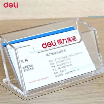Deli Big Capacity Business Name Card Holder Credit Card Holder Fashion Visit Card hold Metal Solid Steel Box memo pad card box