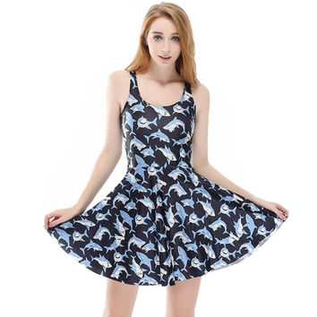 3D Shark Printed Plus Size Party Vintage Dress for Women