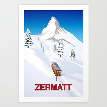 Zermatt Art Print by steve ash illustration