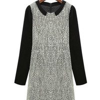 White Long Sleeve Crochet Accent Tunic Wool Dress