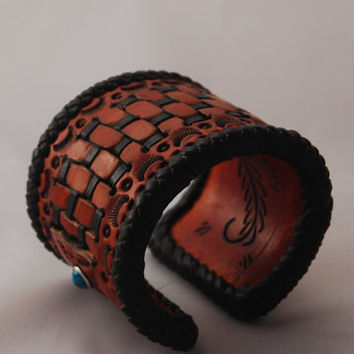 Leather cuff Bracelet braided edge and Turquoise studs