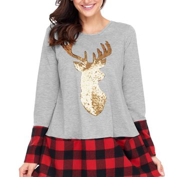 Chicloth Gold Sequin Christmas Reindeer Gray Tunic with Plaid Detail