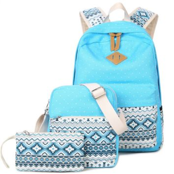 3pcs Sky Blue Backpack Canvas Travel Bag