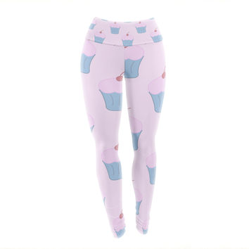 "NL Designs ""Pink Cupcakes"" Blue Blush Yoga Leggings"