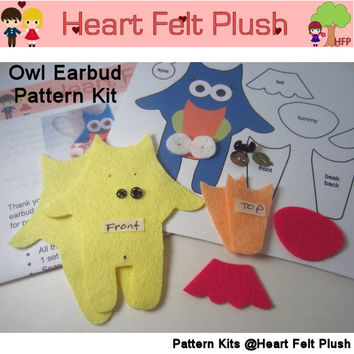 Pattern Kit: Pink/Yellow Owl Earbud Organizer Felt Sewing Kit