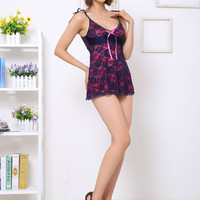 Blue Floral Lace Strappy Babydoll Lingerie