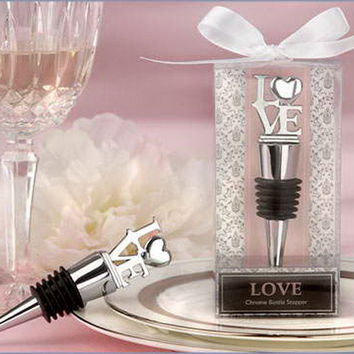 """Love"" Chrome Wine Bottle Stopper Wedding Favors Gifts / Party Decoration"