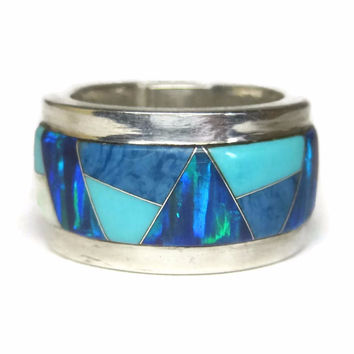 Wide Vintage Southwestern Blue Opal Turquoise Inlay Band Ring Size 4.5