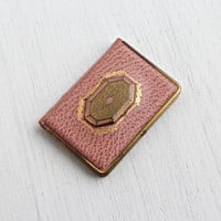 Antique Art Deco Make Up Compact - 1920s Pink & Brass Vanity Mirror Designer Mondaine Leather Fashion Accessory / Lipstick, Blush Book