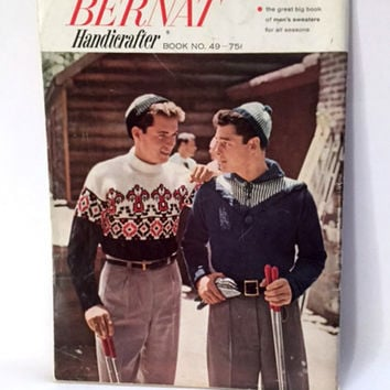 Bernat Knitting Pattern Book 48 Men's Knit Sweaters for All Seasons Cardigan Pullover Vest Mid Century Vintage 1956
