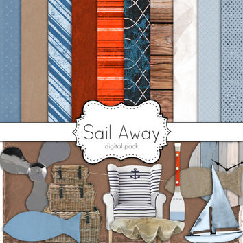 Instant Download-Sail Away Nautical Coastal Seashore Digital Scrapbooking Paper and Embellishment Pack Personal and Commercial Use