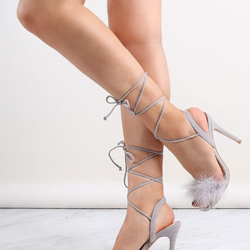 Open Toe Feather Wrap Heels GREY | MakeMeChic.COM