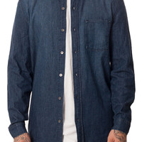 Denim Mandarin Collar Button Up Shirt