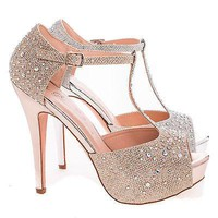 Vice88 Nude Sparkle By De Blossom, Peep Toe Platform D'orsay Inspired Pump Up Heel