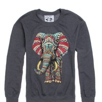Riot Society Ornate Elephant Crew Fleece - Mens Hoodie - Black
