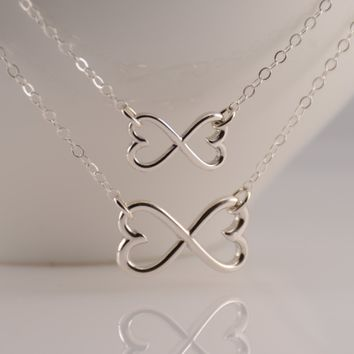 Mother Daughter Infinity Necklace Set