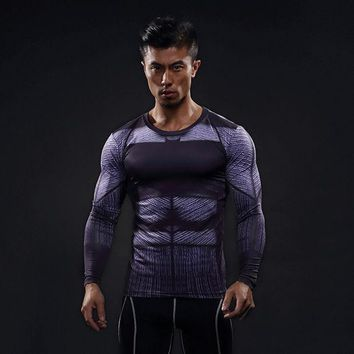 New Superhero Superman Batman Bucky Anime 3d T Shirt Fitness Men Crossfit T Shirt Long Sleeve Compression Shirt Male