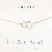 """Two Best Friends"" Personalized Sterling Silver Necklace 