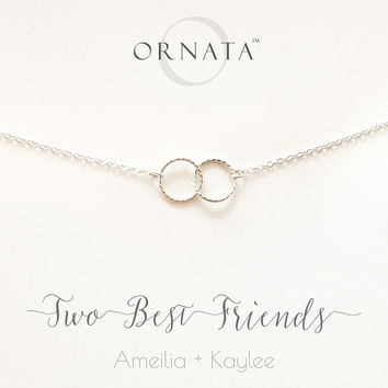 """""""Two Best Friends"""" Personalized Sterling Silver Necklace 