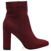 Presley Ankle Boots in Bordeaux Faux Suede