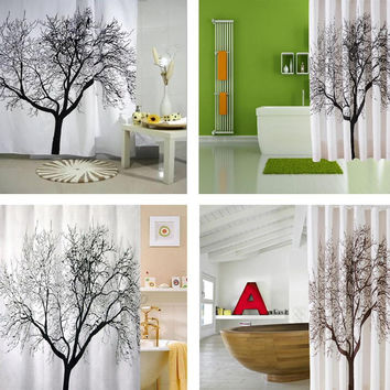 1pcsNew Shower Curtain Stylish Black Scenery Tree Design Bathroom Waterproof Fabric (NAKEDSOAP'S SHOWER&BEYOND)