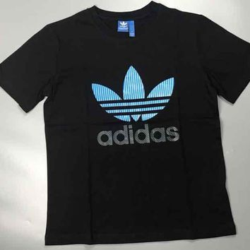 ADIDAS Bust Big Logo Blue Print Three Leaf Stripe Flag Tee Shirt Top B-MG-FSSH Black