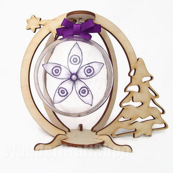 xmas tree decorations, handmade christmas ornaments, clear ornaments, christmas baubles, violet decoration, paper christmas, snowflake