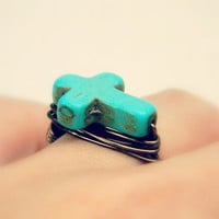 Cross RING. Size 6 -Turquoise- Blue, Aqua, Ocean, Brown, Bronce, Fall, Religious, Jewelry Rings, Turquoise Jewelry, Cross Jewelry, Blue