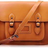 Ladies Designer Tan Brown Satchel Bag Classic Womens Office Shoulder Handbag KCMODE