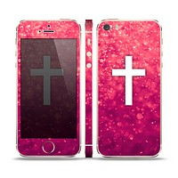 The Vector White Cross over Unfocused Pink Glimmer Skin Set for the Apple iPhone 5s