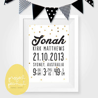 Printable Baby Birth Announcement Wall Art: Golden Polka Dots