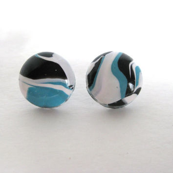 Marbled Clay Jewelry, Blue, Black, White, Marbled Polymer Clay, Marbled Earrings, Marbled Jewelry, Ready To Ship, OOAK