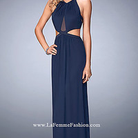 Long Prom Dress with Side Cut Outs by La Femme