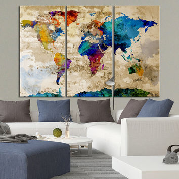 Canvas Art Print Watercolor World Map - Contemporary 3 Panel Triptych Colorful Abstract Rainbow Colors Large Wall Art